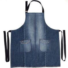 Denim Apron of Recycled Jeans, Blue - - Denim Apron of Recycled Jeans Blue Diy Jeans, Jean Crafts, Denim Crafts, Artisanats Denim, Blue Denim, Jean Apron, Sewing Aprons, Denim Aprons, Denim Ideas