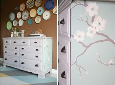 A dresser makeover with Paloma Chalk Paint® decorative paint by Annie Sloan and wallpaper | By Dream Green DIY
