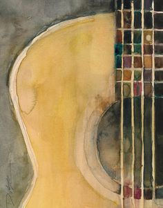 Shop for guitar art from the world's greatest living artists. All guitar artwork ships within 48 hours and includes a money-back guarantee. Choose your favorite guitar designs and purchase them as wall art, home decor, phone cases, tote bags, and more! Guitar Painting, Guitar Art, Painting & Drawing, Acoustic Guitar, Watercolor Print, Watercolor Paintings, Watercolors, Love Art, Painting Inspiration