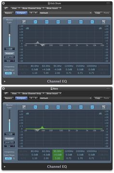Kick Drum and Bass Guitar EQ staying out of each other's way.