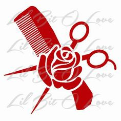 Comb, Scissors and Rose Vinyl Decal for Hair Stylist, Scissors Cosmetology, Beauty