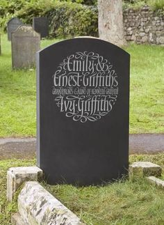 Flowing Italic Headstones by Artist Craftsman Ieuan Rees. Cemetery Monuments, Cemetery Headstones, Old Cemeteries, Cemetery Art, Flat Grave Markers, Grave Decorations, Funeral Planning, Funeral Arrangements, Memorial Stones