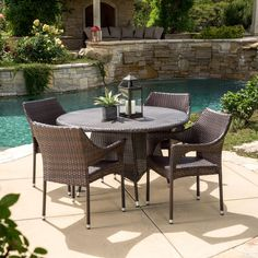 Discover the best outdoor wicker dining sets for your patio, balcony, and porch. We love outdoor wicker dining tables and chairs sets. Wicker Dining Set, Round Dining Set, 7 Piece Dining Set, Outdoor Dining Set, Outdoor Tables, Outdoor Living, Dining Sets, Outdoor Ideas, Wicker Tray