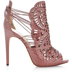 Alexandre Birman Cut-Out Python Sandals featuring polyvore, fashion, shoes, sandals, heels, sapatos, salmon shoes, pink sandals, high heel sandals, high heel shoes and python sandals