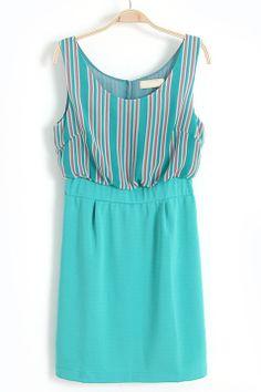 Green Sleeveless Vertical Stripe Chiffon Dress US$22.62