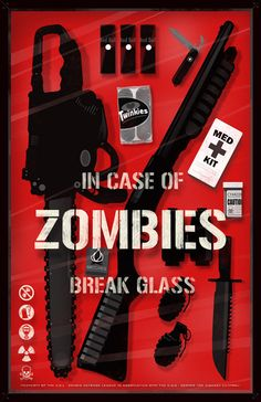 The Zombie Emergency Kit In Case Of Zombies Break Glass - The Walking Dead