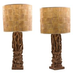 James Mont Pair of Carved Lamps Circa 1950s - Todd Merrill