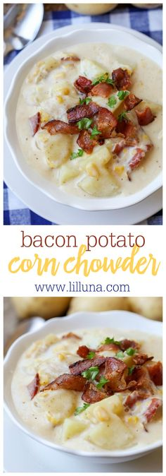 Bacon Potato Corn Chowder - a thick creamy and delicious chowder! If you love bacon corn potatoes and cheese then you'll love definitely love this recipe! Chowder Recipes, Chili Recipes, Crockpot Recipes, Cooking Recipes, Chowder Soup, Corn Soup Recipes, Potato Recipes, Casserole Recipes, Pasta Recipes