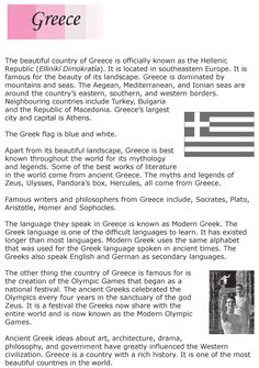 Grade 6 Reading Lesson 23 Nonfiction - Country Profile - Greece (1)