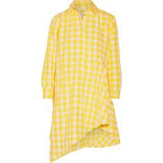 Marques' AlmeidaAsymmetric Gingham Twill Shirt Dress (€445) ❤ liked on Polyvore featuring dresses and yellow