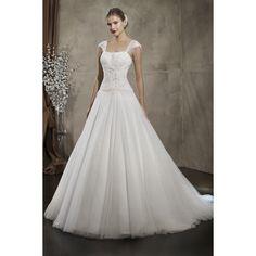 Net Gauze Classic Sleeveless Square Collar Wedding Dress