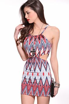 Red Multi Printed Design Scoop Neck Tie String Cut Out Sides Sexy Dress @ Amiclubwear sexy dresses,sexy dress,prom dress,summer dress,spring dress,prom gowns,teens dresses,sexy party wear,women's cocktail dresses,ball dresses,sun dresses,trendy dresses,sw