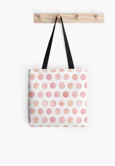 Watercolor Polka Dot Tote Bag by Anastasia Shemetova #faerieshop #watercolour #pink #cute #girlish #pattern #circle #pastel #pale #geometric #redbubble #women #accessories