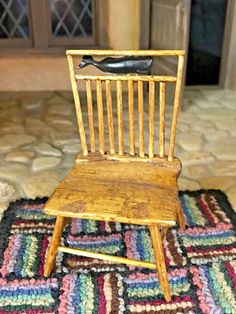 Antique Miniature Dollhouse Artisan Carved Wooden OOAK Spindle Back Side Chair 2