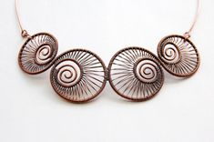 Nautilus Wire Wrapped Copper Choker Necklace