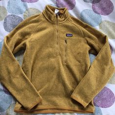 Patagonia better sweater half zip Super soft mustard colored Patagonia sweater! Mens size xs, but fits women's small! great condition, worn 2-3 times. No signs of wear! Patagonia Sweaters