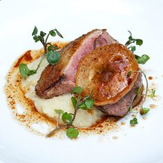 roasted duck breast with apple-onion puree