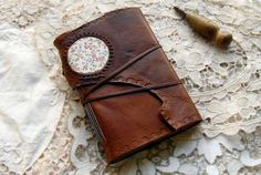 The Floral Window - Rustic Brown Leather Journal, Hand Bound, Embossed, Floral Fabric Patch, Tea Stained Pages, Recycled, OOAK