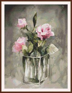 Rosas rosadas contadas punto de cruz patrón en por Maxispatterns