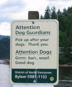 Dog Park Sign in Canada