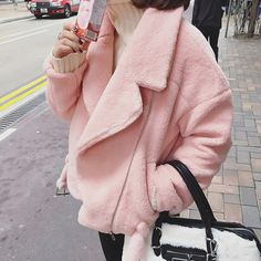 Coat: baby pink pastel winter outfits streetwear japan hipster grunge cute pink winter outfit