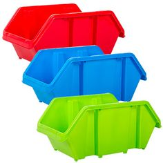 Sturdy plastic bins in bright primary colors stack for the perfect storage solution! Roomy 7.5x12.5x5.5-in. bins are great for school, craft, and office supplies... and so much more! Plus, they nest f