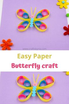 Easy paper butterfly craft for kids. Fun summer craft idea for preschoolers, kindergarteners and elementary school kids. Perfect as a wall decor craft in classrooms and kids' rooms.