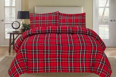 Plaid Red Down Alternative Comforter Set Full/Queen