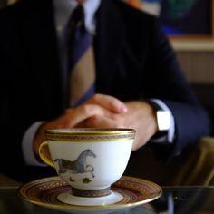 Gentleman enjoying a cup of tea