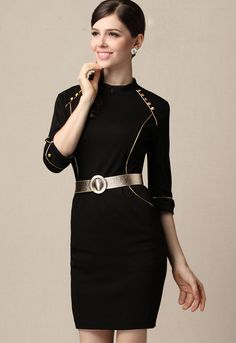 Black High Neck Half Sleeve Pockets Belt Sheath Dress #black #gold #belted #lbd