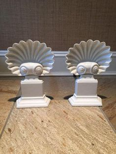 Vintage Enameled Shell Andirons - A Pair on Chairish.com