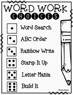 Daily 5 Tons of FREE word work activities to use with any words! Daily 5 Reading, First Grade Reading, Guided Reading, Word Work Centers, Reading Centers, Writing Centers, Phonics Words, Spelling Words, Grade Spelling