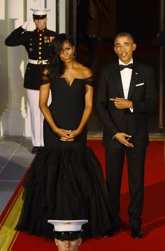 The 28 Most Magnificent Gowns Michelle Obama Wore While in the White House Wearing Vera Wang at a state dinner with Chinese President Xi Jinping in 2015.