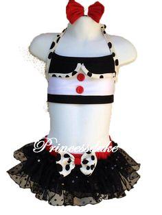 101 Dalmatian Black & White Red Bow Inspired Princessduke