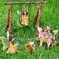 Spring Fairy Garden Decor Sculptures Best Friends Miniature Set 6 Pc Statue Lawn #MoodLab