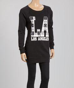 Black & White Plaid 'LA' Sweatshirt by Inspired Hearts #zulily #zulilyfinds