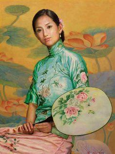 陈逸鸣油画作品:仕女系列-2 - 绸扇  2004年作 作品尺寸:125*89cm