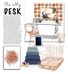 """""""Copper on My Desk"""" by joyfulnoise1052 ❤ liked on Polyvore featuring interior, interiors, interior design, home, home decor, interior decorating, Eichholtz, Kartell, HAY and U Brands"""