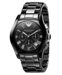 Emporio Armani Watch, Mens Chronograph Black Ceramic Bracelet AR1400 - Mens Watches - Jewelry & Watches - Macys