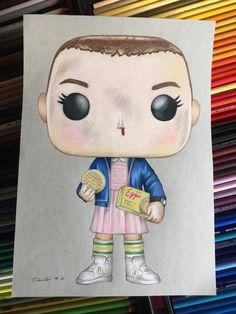 Stranger Things Eleven original pencil drawing .A4 fan-art.