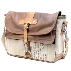Leather Jacket Military Canvas Bag Recycled Messenger Bag // Upcycled by…