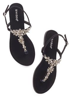 Shine Like You Mean It Sandal in Black - Flat, Faux Leather, Rhinestones, Daytime Party, T-Strap