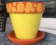 Yellow Polka Dot Flower Pot