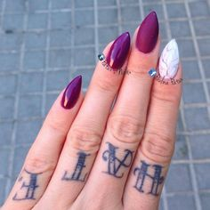 "patuxnails: "" New mani! Used stuff @semilac Burgundy Wine 083, Top No Wipe, Top Mat and @indigonails Mr. White. """
