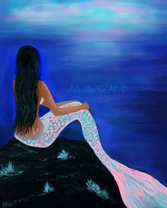 Mermaid Art Print Mermaid Painting Print by LeslieAllenFineArt