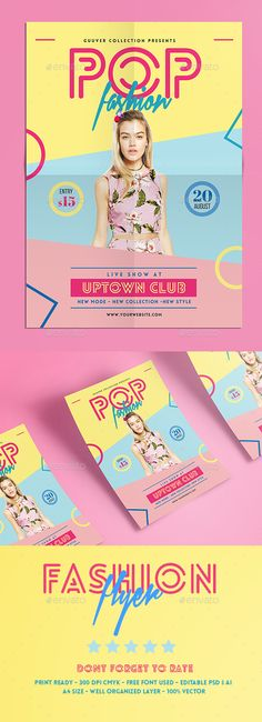 Pop Fashion Flyer Template PSD. Download here: http://graphicriver.net/item/pop-fashion-flyer/16055479?ref=ksioks