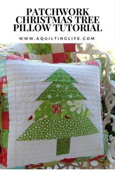 Patchwork Christmas Pillow Tutorial - A Quilting Life tutorial for this fun Christmas Tree patchwork pillow
