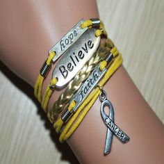 Hope-Believe-Faith Childhood Cancer Awareness Sign Braided Leather Bracelet Yellow & Gold. You will get the same bracelet as the pictures, and the charms are antique silver, this is a very good choice