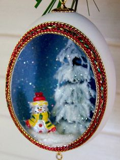 Christmas Ornament Snowman Egg Art Red Green Yellow by EggShells, $14.00