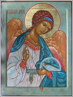 In honor of today's feastday of the Guardian Angels, it seems highly fitting to share some excerpts from the Angelic Doctor's treatment o. Religious Icons, Religious Art, Guardian Angels, The Guardian, Writing Icon, Angel Protection, Byzantine Icons, Catholic Art, Art Icon